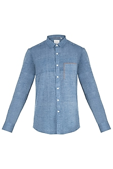 Chambray blue colour blocked shirt