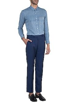 Chambray blue colour blocked shirt by KOS