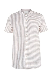 White and beige khadi striped shirt