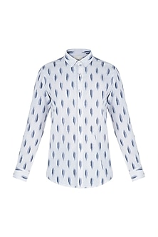 White and blue ikat shirt
