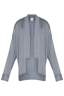 Blue and grey kimono overlay jacket