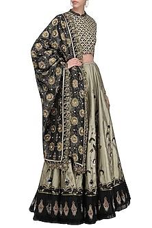 Black and Olive Green Embroidered Lehenga Set by Kotwara by Meera and Muzaffar Ali