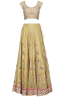 Yellow and Pink Embroidered Lehenga Set