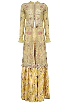 Yellow Embroidered Jacket, Blouse and Gharara Pants Set