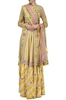 Yellow Embroidered Jacket, Blouse and Gharara Pants Set by Kotwara by Meera and Muzaffar Ali