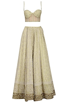 Beige Chikankari Embroidered Lehenga Set
