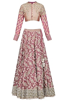 Purple Embroidered Lehenga Set