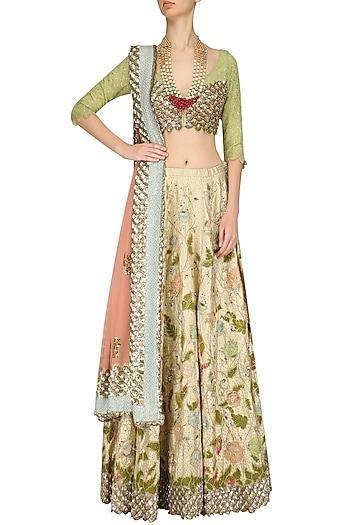 Gold and Peach Pink Zari and Sequins Embroidered Lehenga Set by Kotwara by Meera and Muzaffar Ali