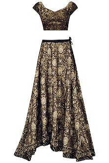 Gold and Black Kamdani and Sequins Embroidered Lehenga Set