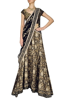 Gold and Black Kamdani and Sequins Embroidered Lehenga Set by Kotwara by Meera and Muzaffar Ali