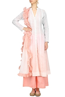 White and Peach Ombre Kurta and Palazzo Pants Set by Kotwara by Meera and Muzaffar Ali