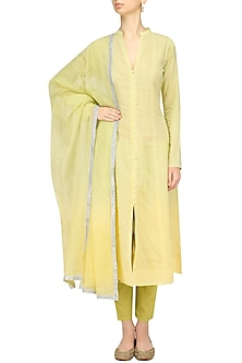 Lime Green Ombre Applique Kurta and Pants Set by Kotwara by Meera and Muzaffar Ali