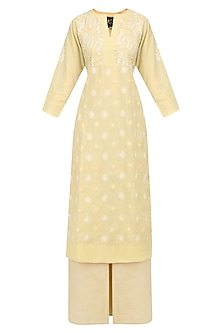 Beige and White Chikankari Work Kurta Set