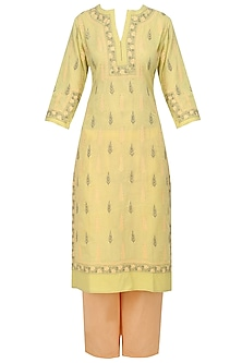 Green and Peach Chikankari Kurta and Palazzo Pants Set