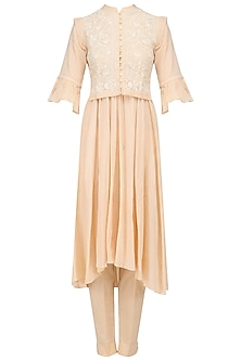 Peach Peshwaz Kurta, Pants and Floral Embroidered Waistcoat Set