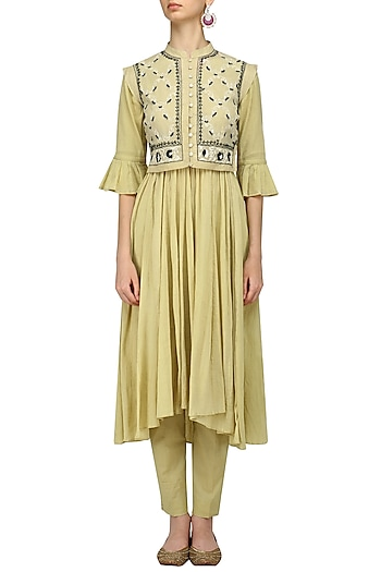Beige Peshwaz Kurta, Pants and Floral Embroidered Waistcoat Set by Kotwara by Meera and Muzaffar Ali
