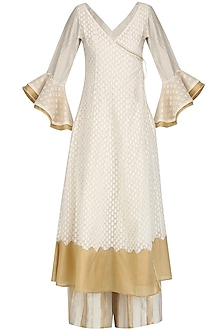 Ivory Angrakha Kurta, Pants and Inner Set