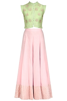 Pista Green Waistcoat and Lurex Patchwork Skirt Set