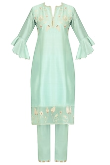 Mint Blue Zardozi Embroidered Kurta and Crop Pants Set by Kotwara by Meera and Muzaffar Ali
