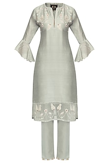 Grey Zardozi Embroidered Tulip Kurta Set by Kotwara by Meera and Muzaffar Ali