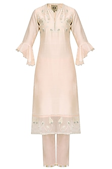 Pale Pink Zardozi Embroidered Tulip Kurta Set