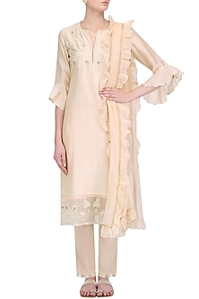 Pale Pink Zardozi Embroidered Tulip Kurta Set by Kotwara by Meera and Muzaffar Ali