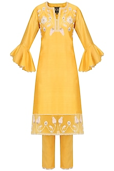 Yellow Zardozi Embroidered Tulip Kurta Set by Kotwara by Meera and Muzaffar Ali