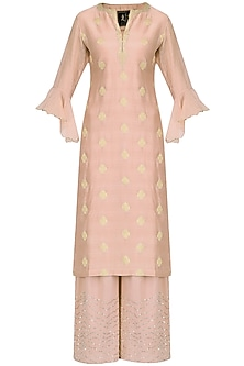 Rose Pink Brocade Chanderi Straight Kurta Set