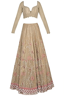 Gold embroidered lehenga set