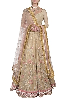 Gold embroidered lehenga set by Kotwara by Meera and Muzaffar Ali