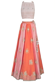 Pink and peach embroidered lehenga set