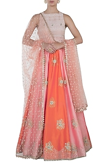 Pink and peach embroidered lehenga set by Kotwara by Meera and Muzaffar Ali