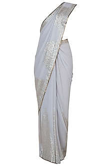 Grey embroidered saree