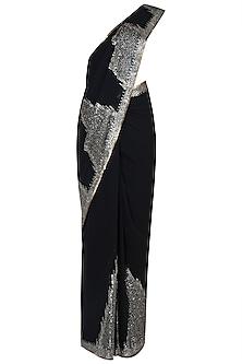 Black embroidered saree by Kotwara by Meera and Muzaffar Ali