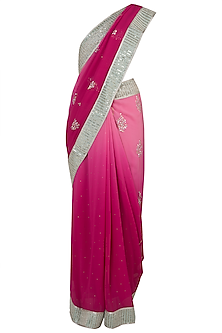 Pink embroidered saree by Kotwara by Meera and Muzaffar Ali