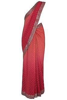 Red ombre embroidered saree by Kotwara by Meera and Muzaffar Ali