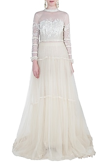 Ivory embroidered gown by Kotwara by Meera and Muzaffar Ali