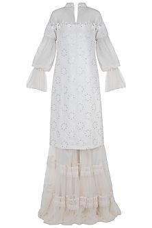 Ivory embroidered lehenga set