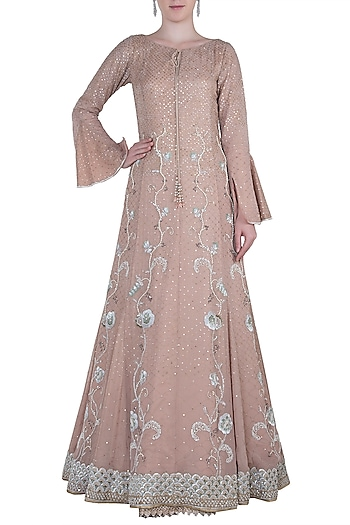 Vintage rose embroidered choga gown by Kotwara by Meera and Muzaffar Ali