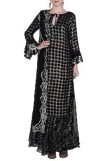 Black kamdani kurta set by Kotwara by Meera and Muzaffar Ali