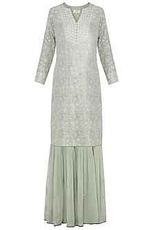 Green chikankari kurta set by Kotwara by Meera and Muzaffar Ali