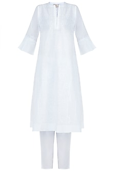 White chikankari kurta with pants