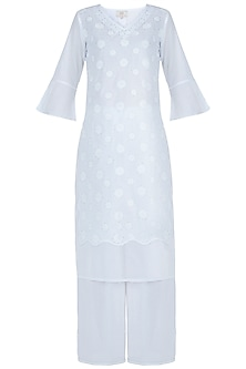White chikankari kamdani kurta with pants