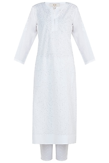 White chikankari kamdani kurta with lace pants