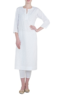 White chikankari kamdani kurta with lace pants by Kotwara by Meera and Muzaffar Ali