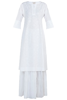 White chikankari kamdani choga kurta with pants