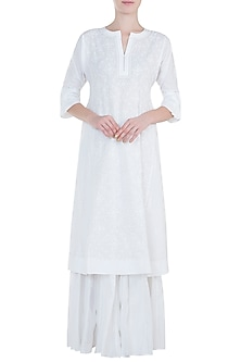 White chikankari kamdani choga kurta with pants by Kotwara by Meera and Muzaffar Ali