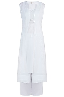 White chikankari choga kurta set with inner