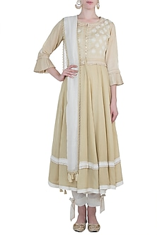 Beige peshwa kurta set with waistcoat by Kotwara by Meera and Muzaffar Ali