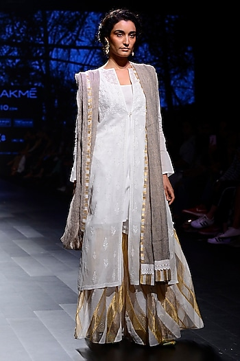 White Floral Work Peshwa Jacket, Inner and Garara Pants Set by Kotwara by Meera and Muzaffar Ali